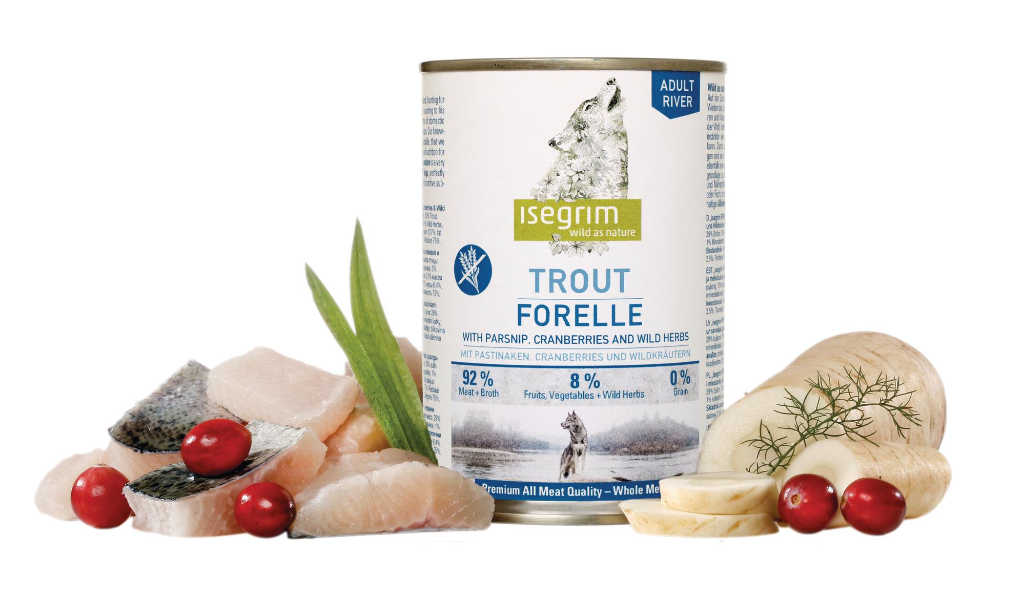 ISEGRIM Adult River: Pstruh s pastinákem a brusinkami 800 g